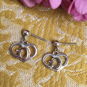 Jewelry - Silver & Gold Tone God Heart Stud Dangle Earrings